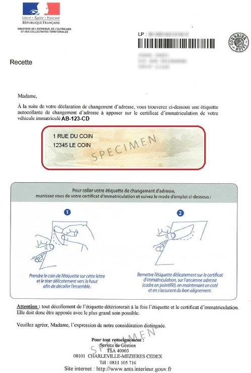 nouvelle adresse carte grise CHANGEMENT ADRESSE CG SIV RECENTE SIMPLIFIEE